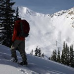 Tyler Cohen skinning up in the Wasatch, 23jan11. Click to enlarge.