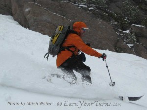 Rippin' fresh in humid conditions at Mammoth Mountain with the New Telemark Norm.