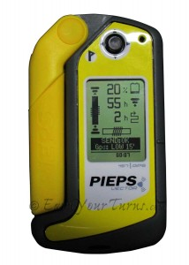 Pieps Vector avalanche transceiver showing Li-ion battery life