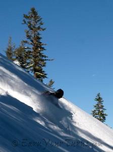 Spirit Dan rips freshies on Tahoe's West Shore.