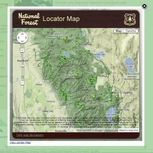 USFS interactive map showing forest area boundaries.