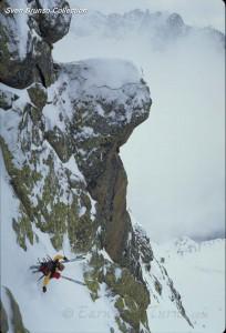 Sven Brunso pulls a windshield wiper turn somewhere in the Alps.
