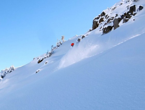 Obstacles may dominate the snow pack, but pockets of powder do exist this season, even in Tahoe.  Photo by tahoebc.