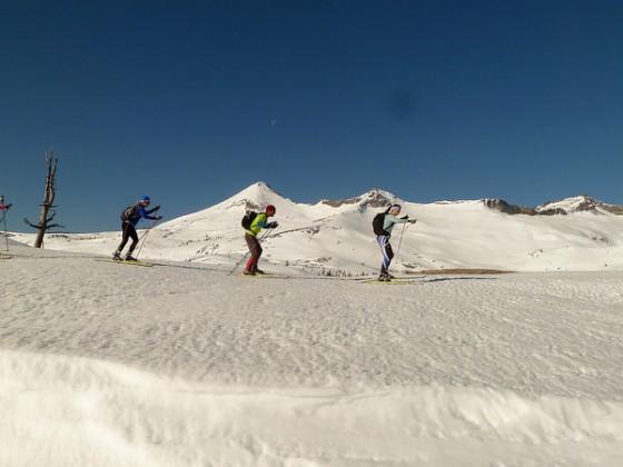 Backcountry skate skiing in Desolation Wilderness.