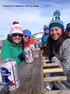 Snow Sista's sipping PBR's.