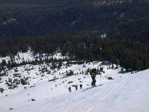 Breaking out of the trees and moving up the NE side of Lassen.