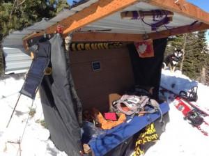 Joe Bob's semi-portable summit bench/shelter.