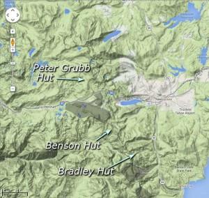 Existing Sierra Club Huts near Lake Tahoe.