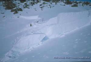Looking the other way at the crown of the avalanche.