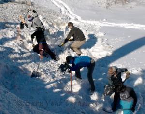 Team Ortovox and Team BCA dig for bragging rights. BCA won. Ortovox had some carnage (broken shovel).