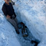 Shiek Yerbouti helps set the course with a Lincoln-log dummy buried 0.8m deep in bermcrete.