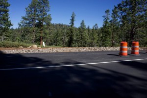 It doesn't look like much, but those rocks form a barrier you can't drive over. Thanks to local complaints, the Jakes parking spot is now paved and officially permanent.