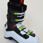 Beast of a boot from Dynafit. Magnesium rear spoiler, Master Step Inserts, and cool buckles.