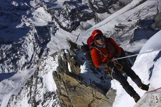 Vlad Moroz rapping down after a successful summit of Ama Dablam, 2014