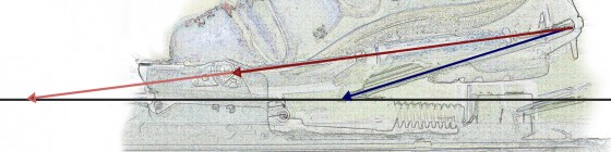Comparing cable positions and angles for Voile's Switchback (red) and 22 Designs' Axl (blue).